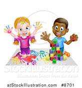Vector Illustration of a Cartoon Happy White Girl Sitting on Paper and and Painting and a Black Boy Playing with Blocks by AtStockIllustration