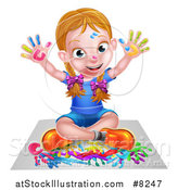 Vector Illustration of a Cartoon Happy White Girl Sitting on Paper and and Painting by AtStockIllustration