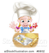 Vector Illustration of a Cartoon Happy White Girl Wearing a Chef Toque Hat and Making Star Cookies by AtStockIllustration