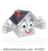 Vector Illustration of a Cartoon Happy White Home Character Giving Two Thumbs up by AtStockIllustration