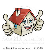 Vector Illustration of a Cartoon Happy White Home Mascot Character Giving Two Thumbs up by AtStockIllustration
