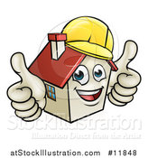 Vector Illustration of a Cartoon Happy White Home Mascot Character Wearing a Hardhat and Giving Two Thumbs up by AtStockIllustration