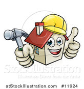 Vector Illustration of a Cartoon Happy White Home Mascot Character Wearing a Hardhat, Holding a Hammer and Giving a Thumb up by AtStockIllustration