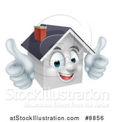 Vector Illustration of a Cartoon Happy White Home Mascot Giving Two Thumbs up by AtStockIllustration