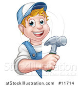 Vector Illustration of a Cartoon Happy White Male Carpenter Holding a Hammer Around a Sign by AtStockIllustration