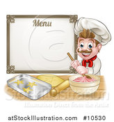 Vector Illustration of a Cartoon Happy White Male Chef Baker Mixing Frosting and Making Cookies Under a Menu by AtStockIllustration