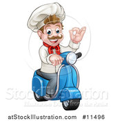 Vector Illustration of a Cartoon Happy White Male Chef Gesturing Ok on a Delivery Scooter by AtStockIllustration
