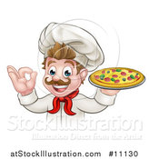 Vector Illustration of a Cartoon Happy White Male Chef Gesturing Perfect and Holding up a Pizza by AtStockIllustration