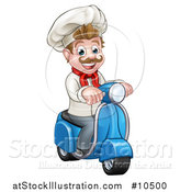 Vector Illustration of a Cartoon Happy White Male Chef on a Delivery Scooter by AtStockIllustration