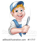 Vector Illustration of a Cartoon Happy White Male Electrician Holding a Screwdriver Around a Sign by AtStockIllustration