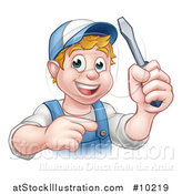 Vector Illustration of a Cartoon Happy White Male Electrician Holding up a Screwdriver and Pointing by AtStockIllustration