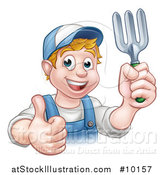 Vector Illustration of a Cartoon Happy White Male Gardener in Blue, Holding a Garden Fork and Giving a Thumb up over a Sign by AtStockIllustration
