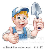 Vector Illustration of a Cartoon Happy White Male Gardener in Blue, Holding a Garden Trowel and Giving a Thumb up by AtStockIllustration