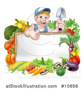 Vector Illustration of a Cartoon Happy White Male Gardener in Blue, Holding a Garden Trowel and Giving a Thumb up over a White Sign with Produce by AtStockIllustration