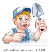 Vector Illustration of a Cartoon Happy White Male Gardener in Blue, Holding a Garden Trowel and Pointing by AtStockIllustration
