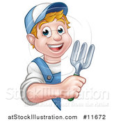 Vector Illustration of a Cartoon Happy White Male Gardener in Blue, Holding a Garden Trowel Around a Sign by AtStockIllustration