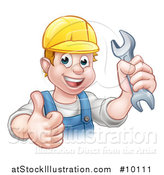 Vector Illustration of a Cartoon Happy White Male Mechanic Holding a Spanner Wrench and Giving a Thumb up by AtStockIllustration