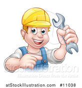 Vector Illustration of a Cartoon Happy White Male Mechanic Holding a Spanner Wrench and Pointing by AtStockIllustration