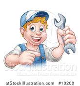 Vector Illustration of a Cartoon Happy White Male Mechanic Holding up a Wrench and Pointing by AtStockIllustration