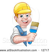 Vector Illustration of a Cartoon Happy White Male Painter Holding a Brush Around a Sign by AtStockIllustration