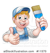 Vector Illustration of a Cartoon Happy White Male Painter Holding up a Brush and Giving a Thumb up by AtStockIllustration