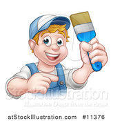Vector Illustration of a Cartoon Happy White Male Painter Holding up a Brush and Pointing by AtStockIllustration