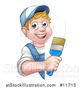 Vector Illustration of a Cartoon Happy White Male Painter Holding up a Brush Around a Sign by AtStockIllustration