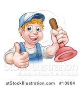 Vector Illustration of a Cartoon Happy White Male Plumber Holding a Plunger and Giving a Thumb up by AtStockIllustration