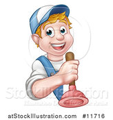 Vector Illustration of a Cartoon Happy White Male Plumber Holding a Plunger Around a Sign by AtStockIllustration