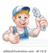 Vector Illustration of a Cartoon Happy White Male Plumber Wearing a Hat, Holding an Adjustable Wrench and Giving a Thumb up by AtStockIllustration