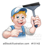 Vector Illustration of a Cartoon Happy White Male Window Cleaner in Blue, Pointing and Holding a Squeegee by AtStockIllustration