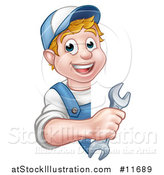 Vector Illustration of a Cartoon Happy White Male Worker Holding a Spanner Wrench Around a Sign by AtStockIllustration