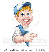 Vector Illustration of a Cartoon Happy White Male Worker Pointing Around a Sign by AtStockIllustration