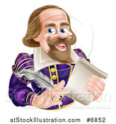 Vector Illustration of a Cartoon Happy William Shakespeare Holding a Scroll and Feather Quill by AtStockIllustration