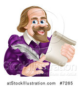 Vector Illustration of a Cartoon Happy William Shakespeare Holding a Scroll and Feather Quill, from Waist up by AtStockIllustration