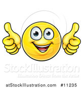 Vector Illustration of a Cartoon Happy Yellow Emoji Smiley Face Emoticon Holding Two Thumbs up by AtStockIllustration