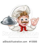 Vector Illustration of a Cartoon Happy Young White Male Chef Holding a Cloche Platter and Gesturing Ok or Perfect by AtStockIllustration