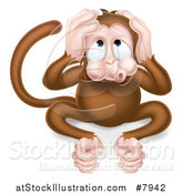 Vector Illustration of a Cartoon Hear No Evil Wise Monkey Covering His Ears by AtStockIllustration