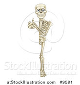 Vector Illustration of a Cartoon Human Skeleton Giving a Thumb up Around Sign by AtStockIllustration