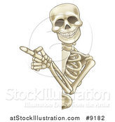 Vector Illustration of a Cartoon Human Skeleton Pointing Around a Sign by AtStockIllustration