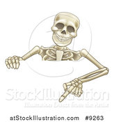 Vector Illustration of a Cartoon Human Skeleton Pointing down over a Sign by AtStockIllustration