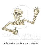Vector Illustration of a Cartoon Human Skeleton Waving and Giving a Thumb up over a Sign by AtStockIllustration