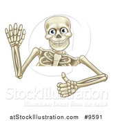 Vector Illustration of a Cartoon Human Skeleton Waving and Holding a Thumb up over a Sign by AtStockIllustration