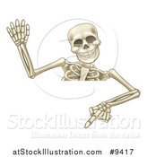 Vector Illustration of a Cartoon Human Skeleton Waving and Pointing down over a Sign by AtStockIllustration