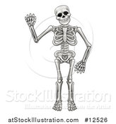 Vector Illustration of a Cartoon Human Skeleton Waving by AtStockIllustration