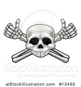 Vector Illustration of a Cartoon Human Skull and Crossbone Arms with Thumbs up by AtStockIllustration