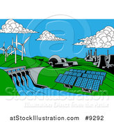 Vector Illustration of a Cartoon Landscape of Renewable Energy Plants with a Dam, Solar Panels, Wind Turbines, Coal Plants and Nuclear Plants by AtStockIllustration