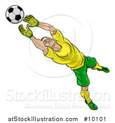 Vector Illustration of a Cartoon Male Goal Keeper Soccer Player in a Green and Yellow Uniform, Sacing a Goal by AtStockIllustration