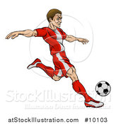 Vector Illustration of a Cartoon Male Soccer Player in a Red Uniform, Kicking a Ball by AtStockIllustration