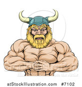 Vector Illustration of a Cartoon Muscular Blond Male Viking Warrior Punching One Fist into a Palm by AtStockIllustration
